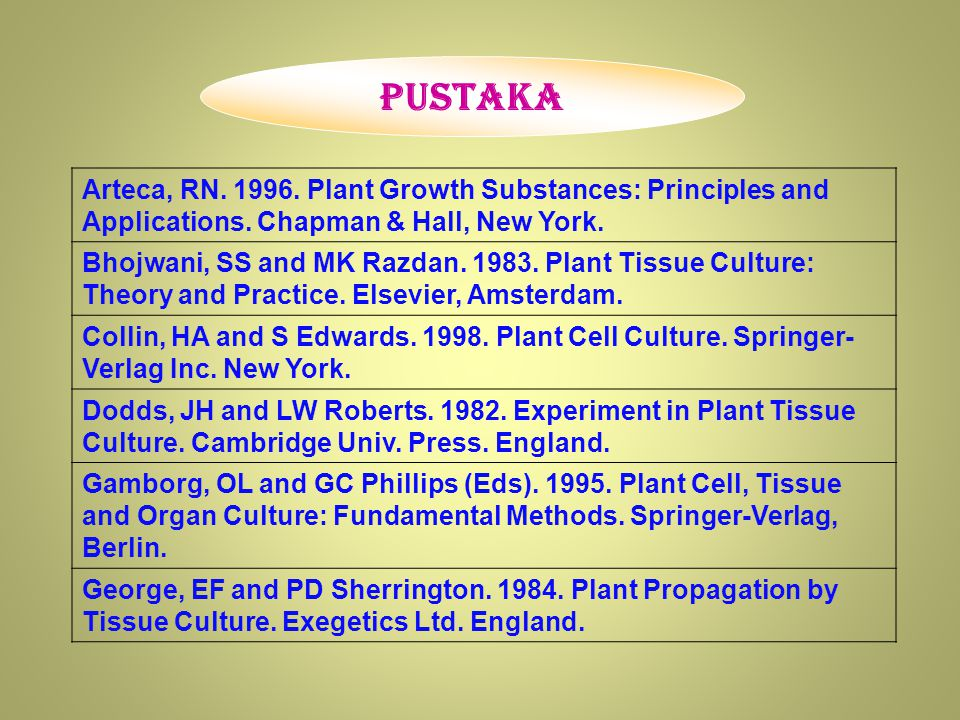 Pustaka Arteca, RN.1996. Plant Growth Substances: Principles and Applications.