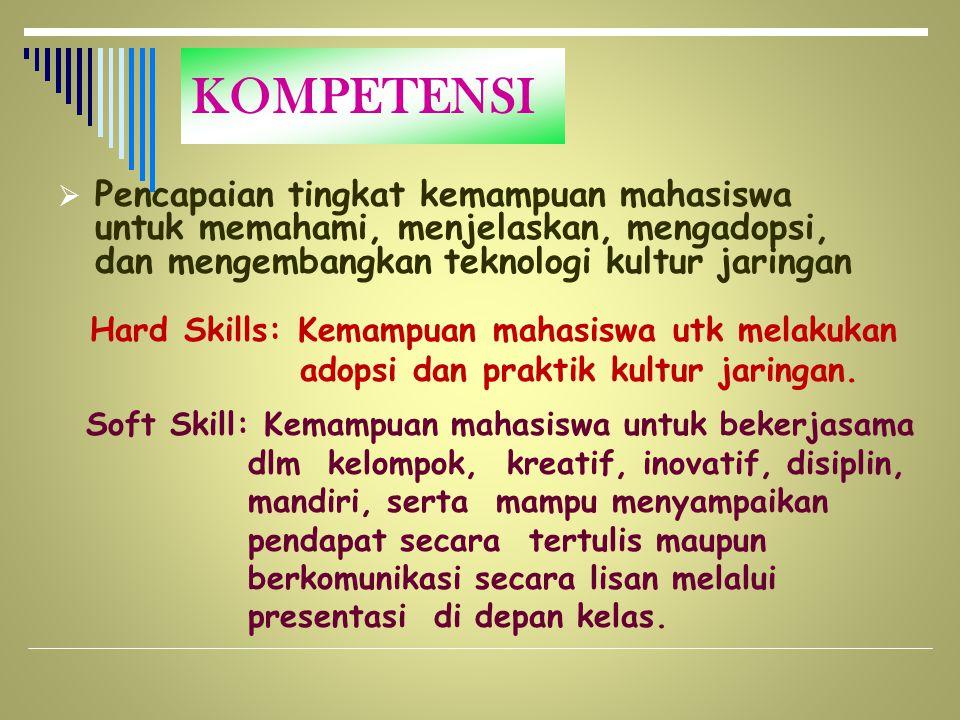 KOMPETENSI Hard Skills: Kemampuan mahasiswa utk melakukan adopsi dan praktik kultur jaringan.
