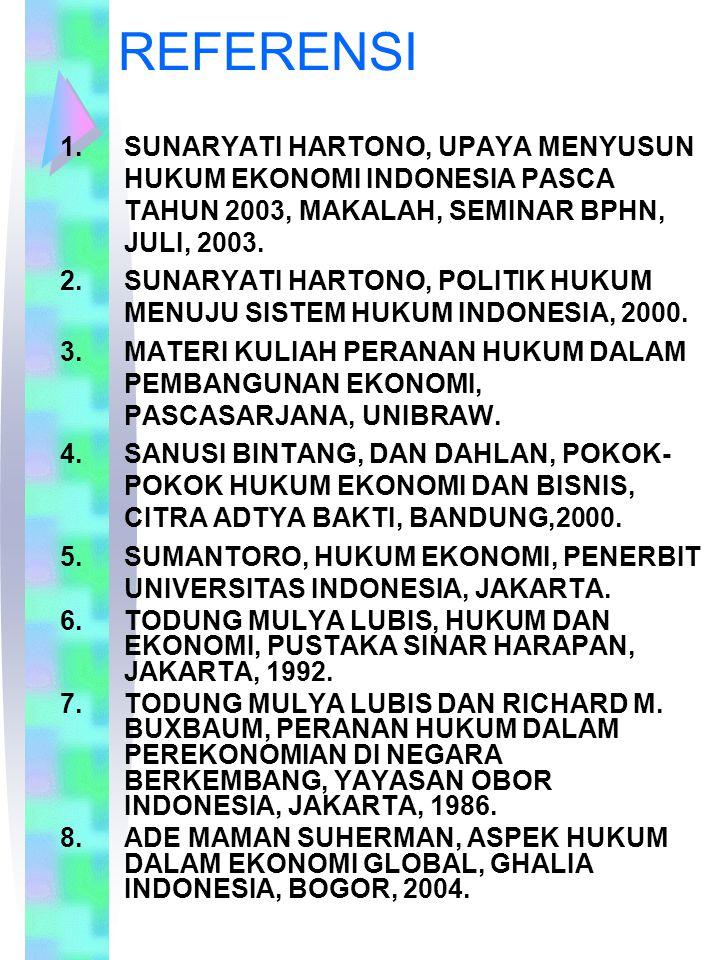 REFERENSI 1.SUNARYATI HARTONO, UPAYA MENYUSUN HUKUM EKONOMI INDONESIA PASCA TAHUN 2003, MAKALAH, SEMINAR BPHN, JULI, 2003. 2.SUNARYATI HARTONO, POLITI