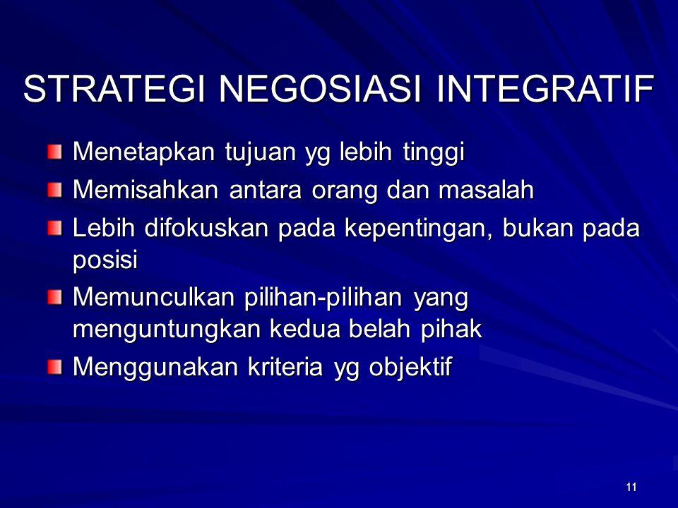 11 STRATEGI NEGOSIASI INTEGRATIF Menetapkan tujuan yg lebih tinggi Memisahkan antara orang dan masalah Lebih difokuskan pada kepentingan, bukan pada p