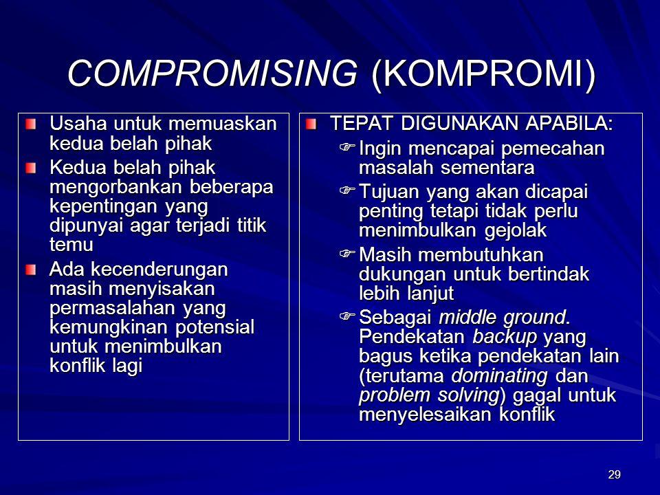29 COMPROMISING (KOMPROMI) Usaha untuk memuaskan kedua belah pihak Kedua belah pihak mengorbankan beberapa kepentingan yang dipunyai agar terjadi titi