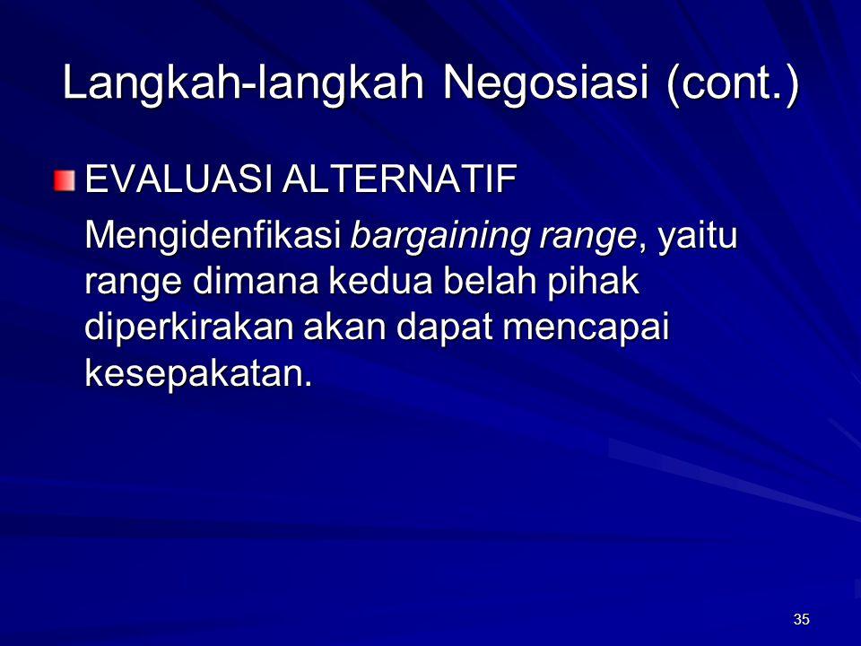 35 Langkah-langkah Negosiasi (cont.) EVALUASI ALTERNATIF Mengidenfikasi bargaining range, yaitu range dimana kedua belah pihak diperkirakan akan dapat