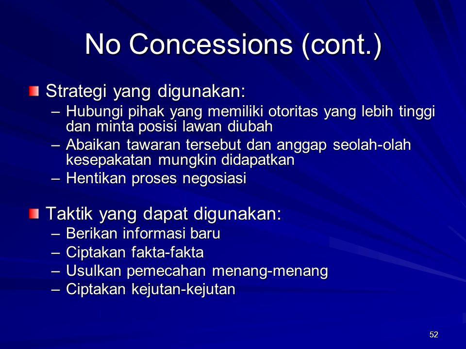 52 No Concessions (cont.) Strategi yang digunakan: –Hubungi pihak yang memiliki otoritas yang lebih tinggi dan minta posisi lawan diubah –Abaikan tawa