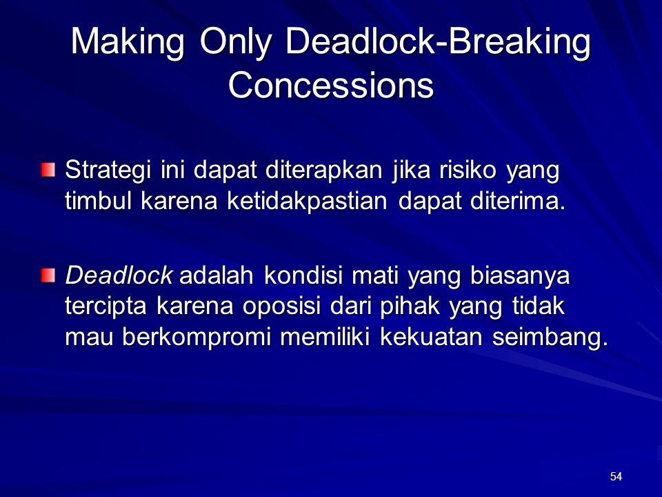 54 Making Only Deadlock-Breaking Concessions Strategi ini dapat diterapkan jika risiko yang timbul karena ketidakpastian dapat diterima. Deadlock adal