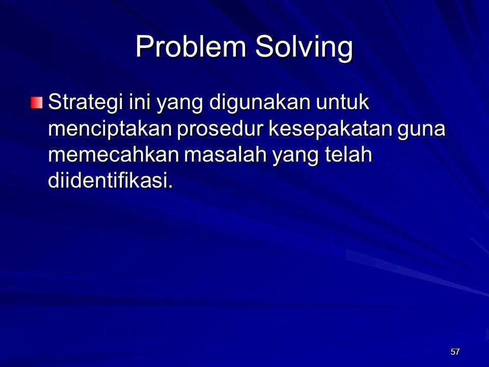 57 Problem Solving Strategi ini yang digunakan untuk menciptakan prosedur kesepakatan guna memecahkan masalah yang telah diidentifikasi.