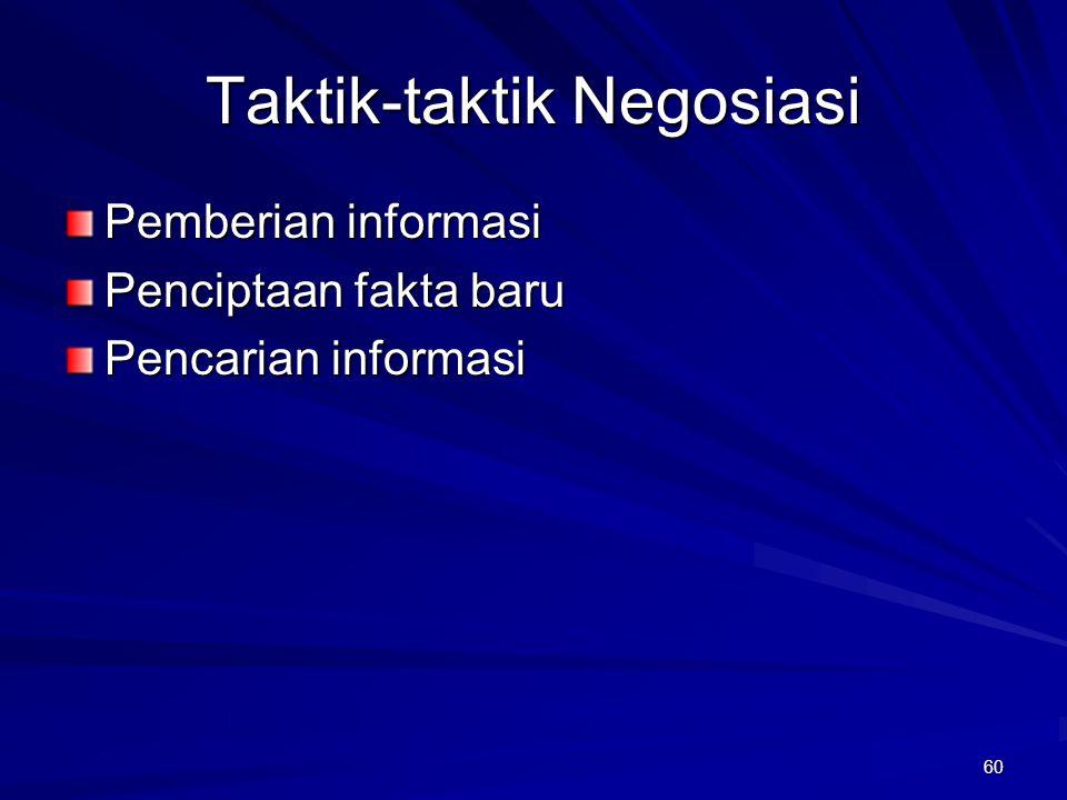 60 Taktik-taktik Negosiasi Pemberian informasi Penciptaan fakta baru Pencarian informasi