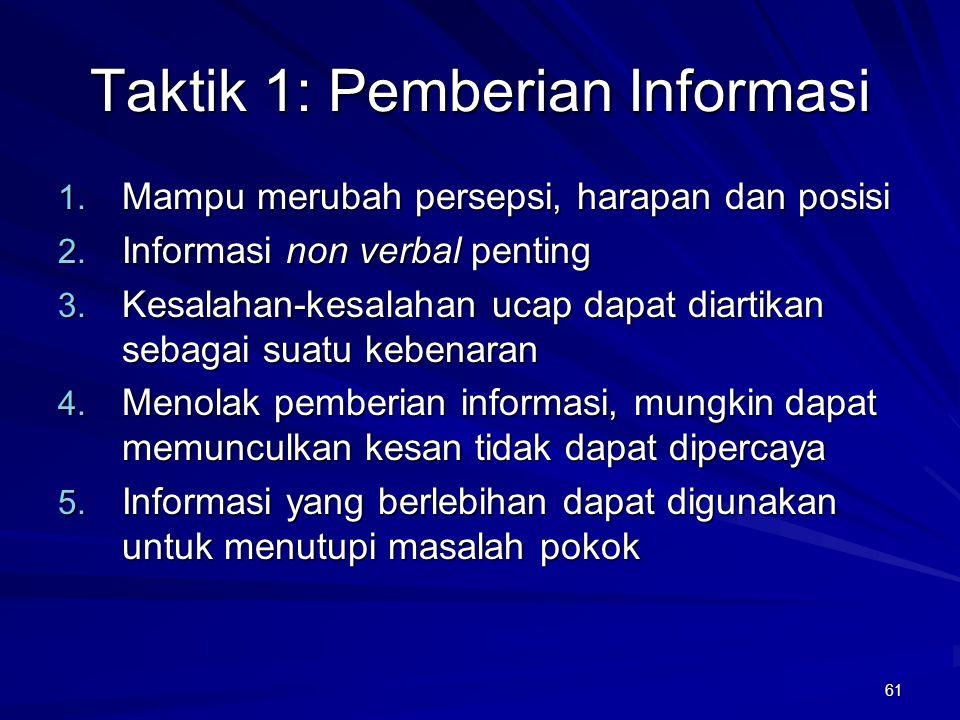 61 Taktik 1: Pemberian Informasi 1. Mampu merubah persepsi, harapan dan posisi 2. Informasi non verbal penting 3. Kesalahan-kesalahan ucap dapat diart