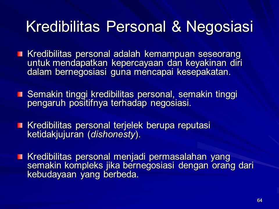 64 Kredibilitas Personal & Negosiasi Kredibilitas personal adalah kemampuan seseorang untuk mendapatkan kepercayaan dan keyakinan diri dalam bernegosi
