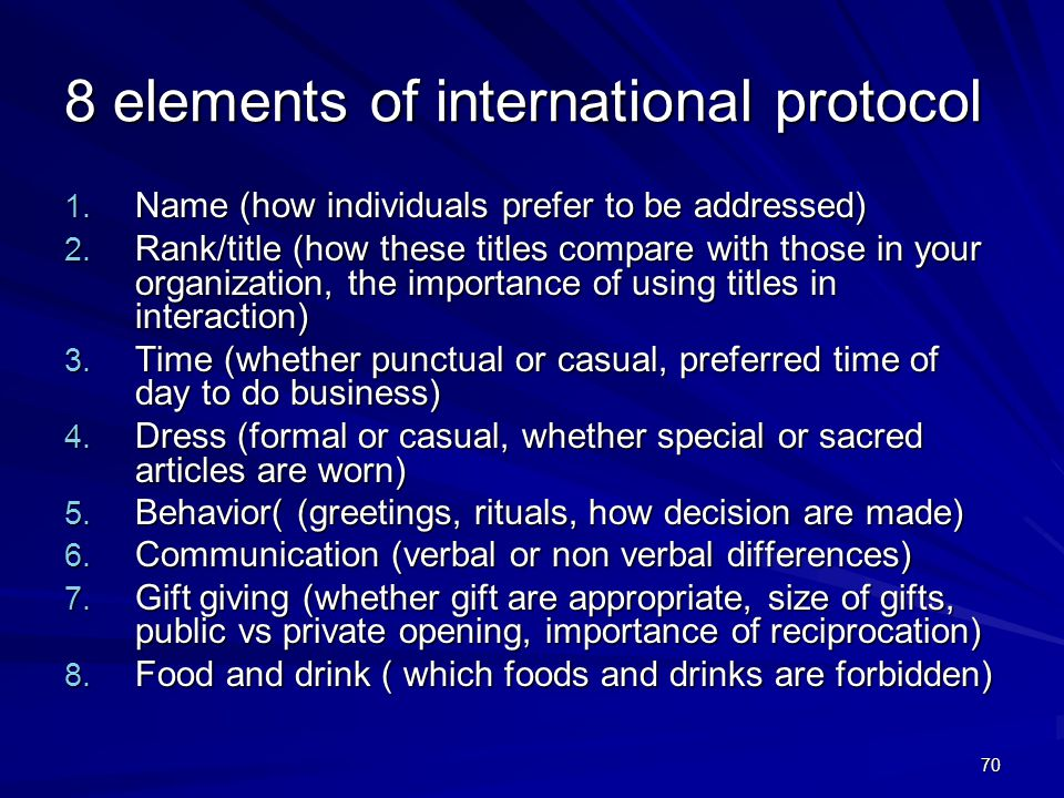 70 8 elements of international protocol 1.Name (how individuals prefer to be addressed) 2.