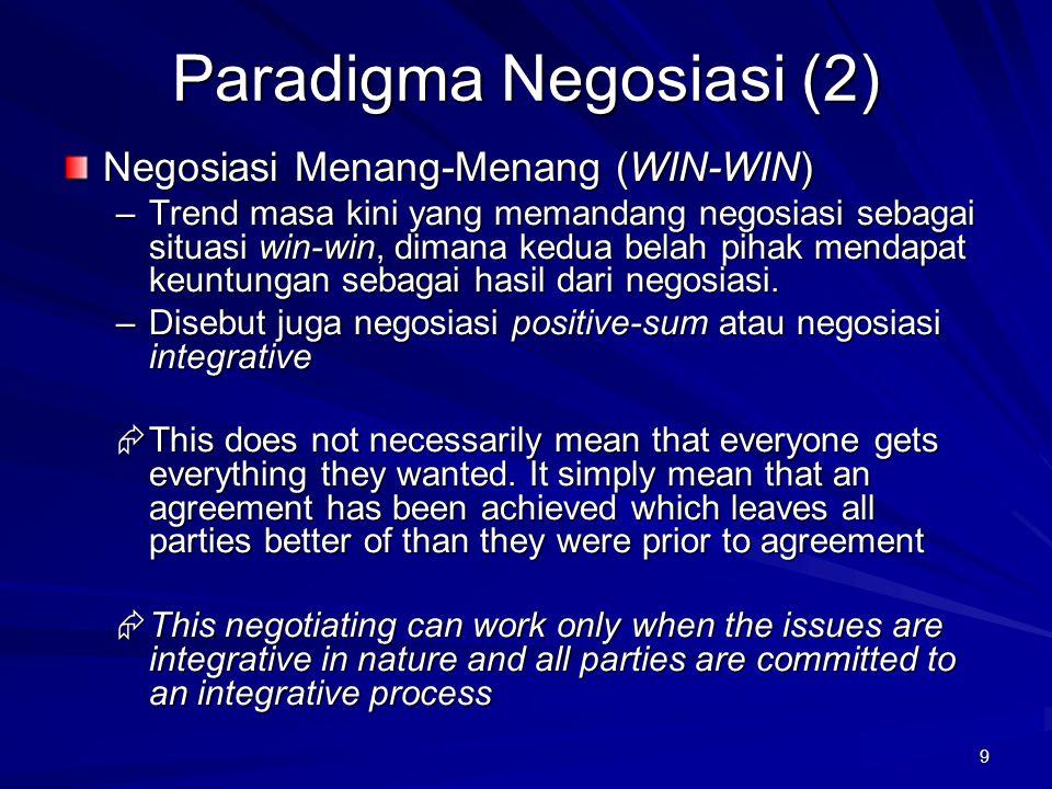 9 Paradigma Negosiasi (2) Negosiasi Menang-Menang (WIN-WIN) –Trend masa kini yang memandang negosiasi sebagai situasi win-win, dimana kedua belah piha