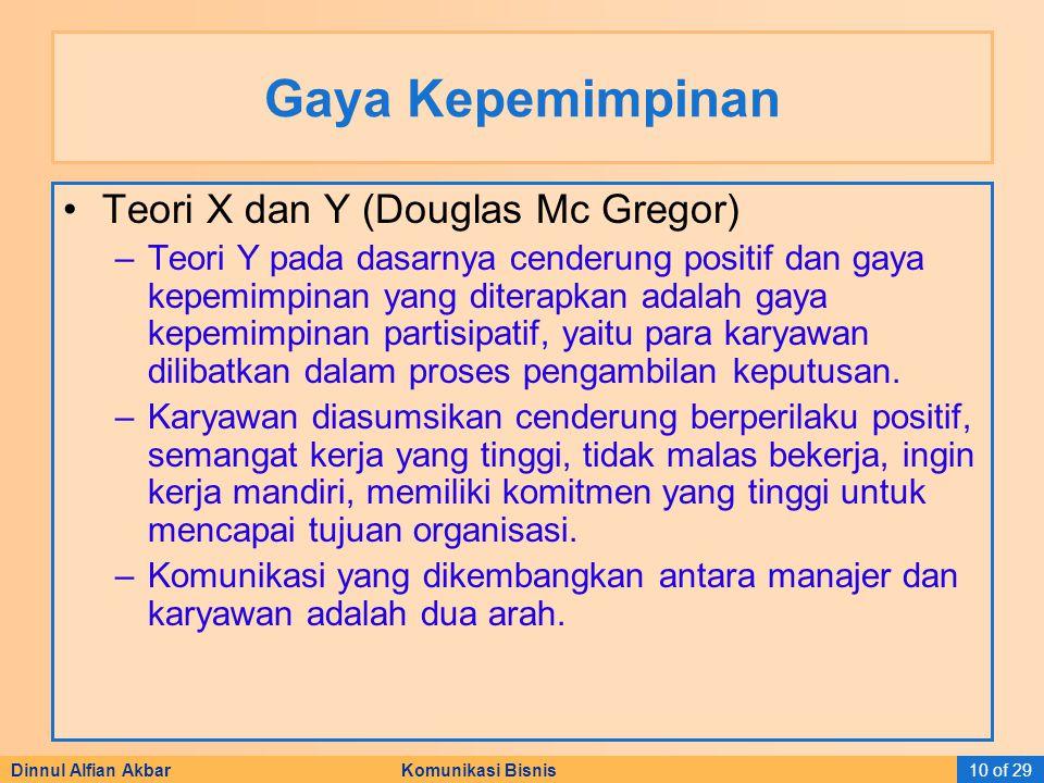Dinnul Alfian Akbar Komunikasi Bisnis10 of 29 Gaya Kepemimpinan Teori X dan Y (Douglas Mc Gregor) –Teori Y pada dasarnya cenderung positif dan gaya ke