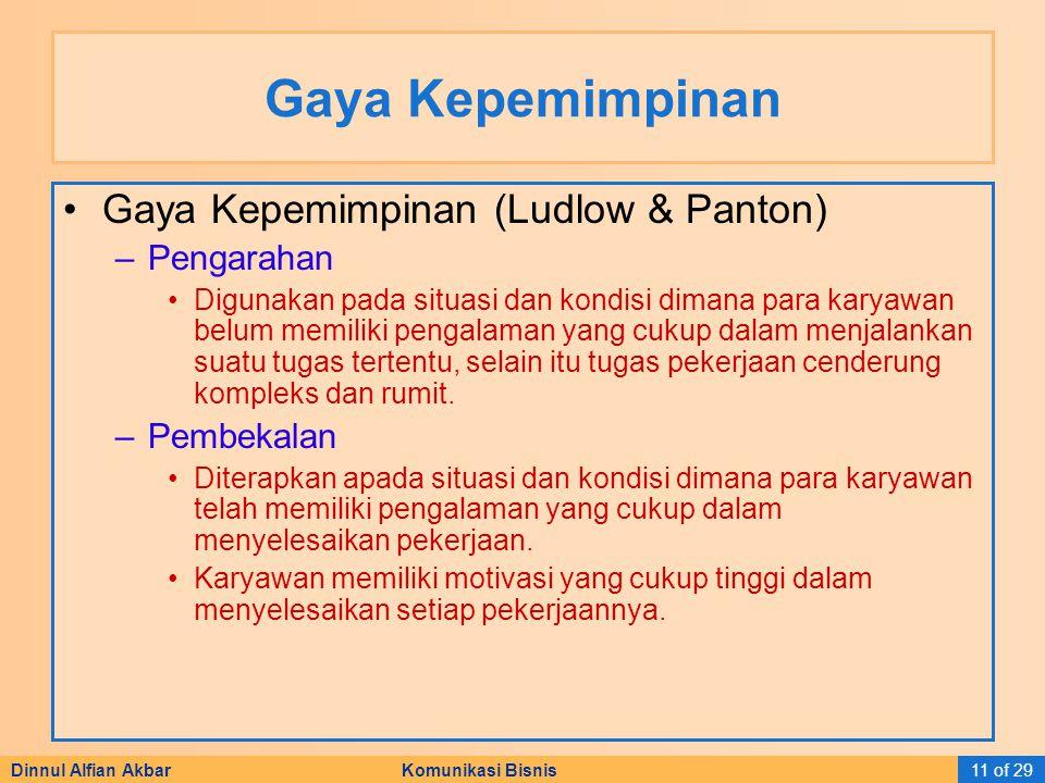 Dinnul Alfian Akbar Komunikasi Bisnis11 of 29 Gaya Kepemimpinan Gaya Kepemimpinan (Ludlow & Panton) –Pengarahan Digunakan pada situasi dan kondisi dim