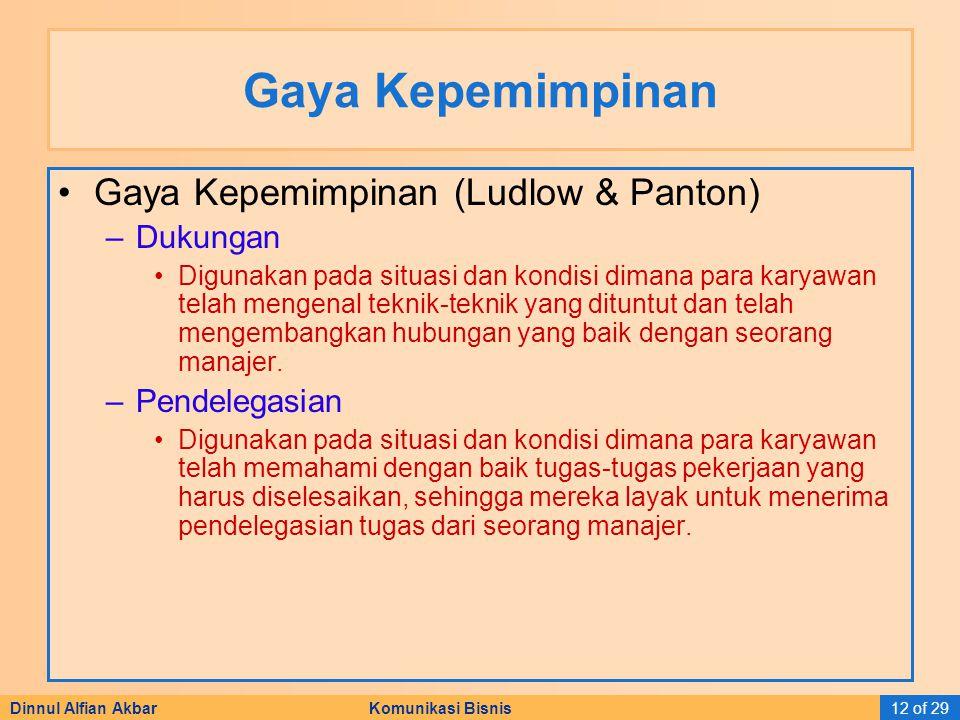 Dinnul Alfian Akbar Komunikasi Bisnis12 of 29 Gaya Kepemimpinan Gaya Kepemimpinan (Ludlow & Panton) –Dukungan Digunakan pada situasi dan kondisi diman