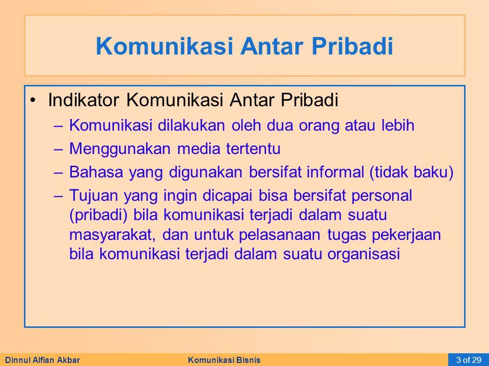 Dinnul Alfian Akbar Komunikasi Bisnis3 of 29 Komunikasi Antar Pribadi Indikator Komunikasi Antar Pribadi –Komunikasi dilakukan oleh dua orang atau leb