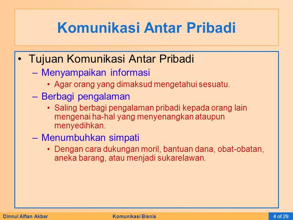 Dinnul Alfian Akbar Komunikasi Bisnis4 of 29 Komunikasi Antar Pribadi Tujuan Komunikasi Antar Pribadi –Menyampaikan informasi Agar orang yang dimaksud