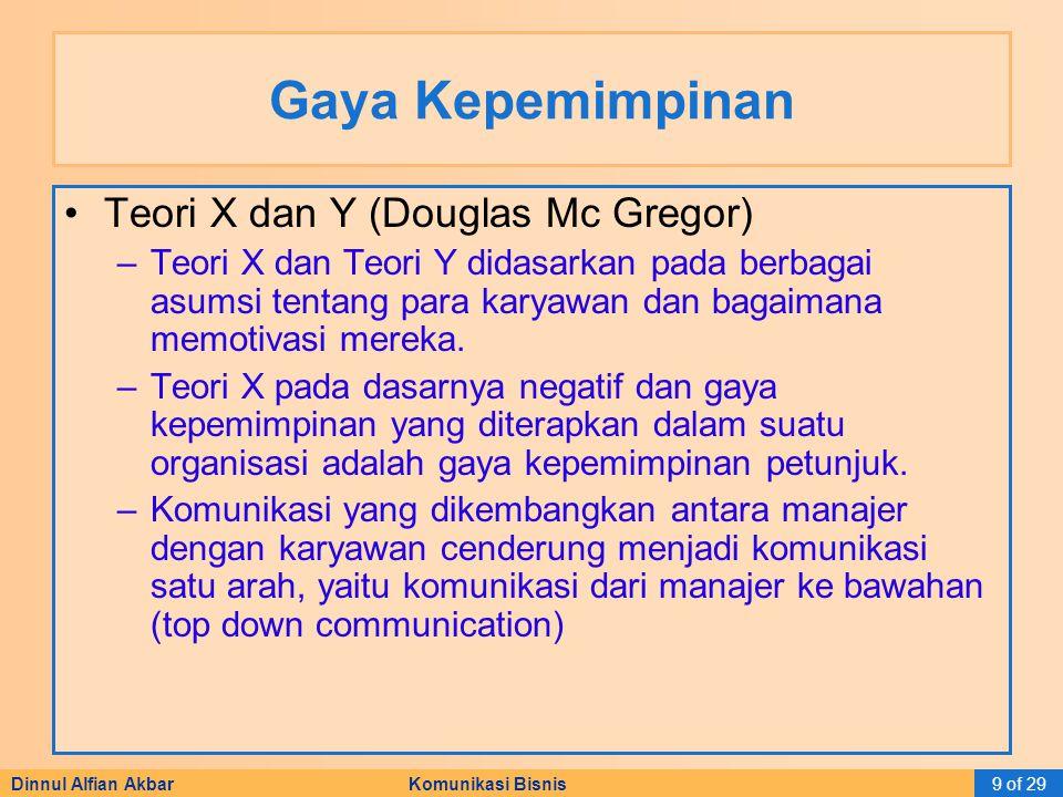 Dinnul Alfian Akbar Komunikasi Bisnis9 of 29 Gaya Kepemimpinan Teori X dan Y (Douglas Mc Gregor) –Teori X dan Teori Y didasarkan pada berbagai asumsi