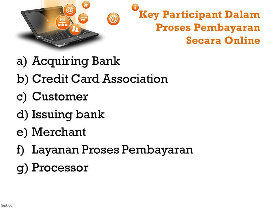 Key Participant Dalam Proses Pembayaran Secara Online a)Acquiring Bank b)Credit Card Association c)Customer d)Issuing bank e)Merchant f)Layanan Proses