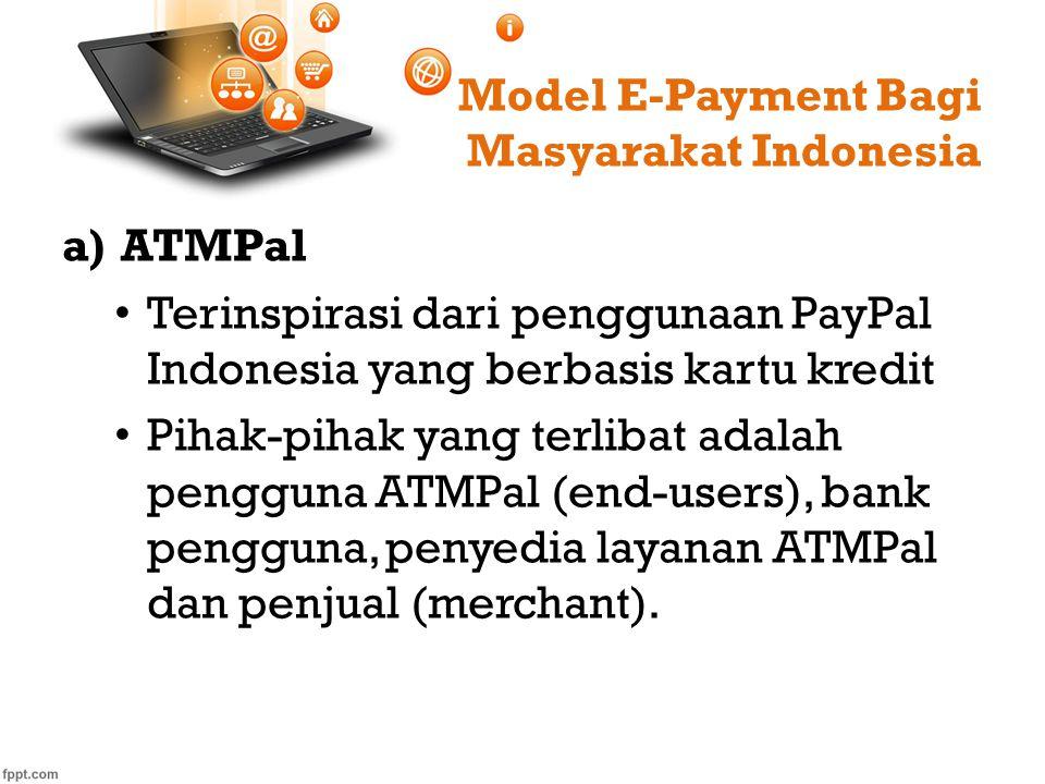 Model E-Payment Bagi Masyarakat Indonesia a)ATMPal Terinspirasi dari penggunaan PayPal Indonesia yang berbasis kartu kredit Pihak-pihak yang terlibat