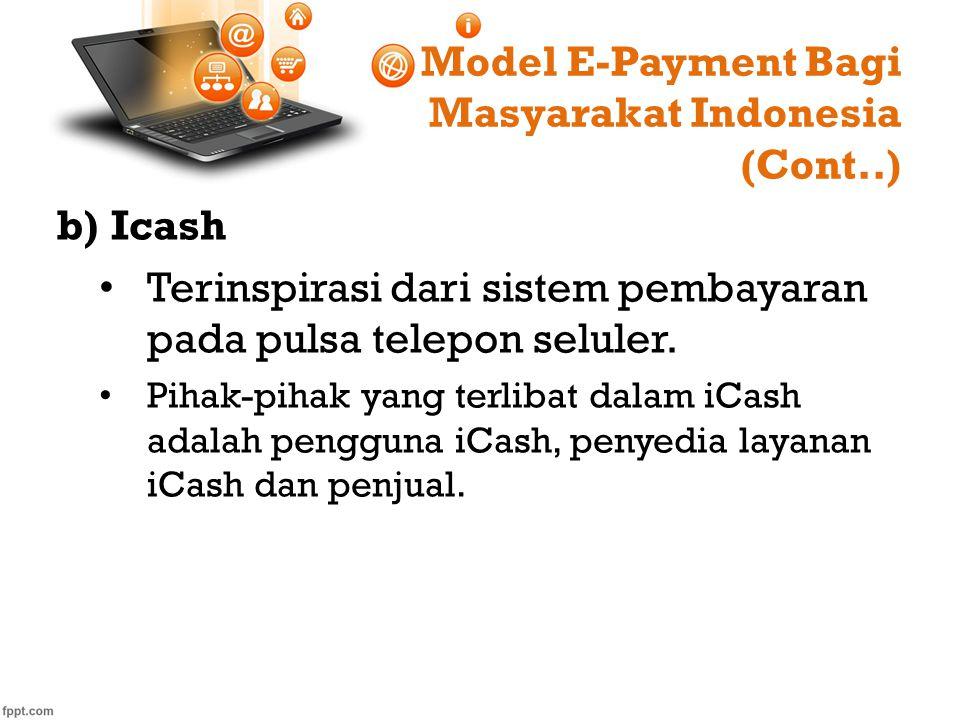 Model E-Payment Bagi Masyarakat Indonesia (Cont..) b)Icash Terinspirasi dari sistem pembayaran pada pulsa telepon seluler. Pihak-pihak yang terlibat d