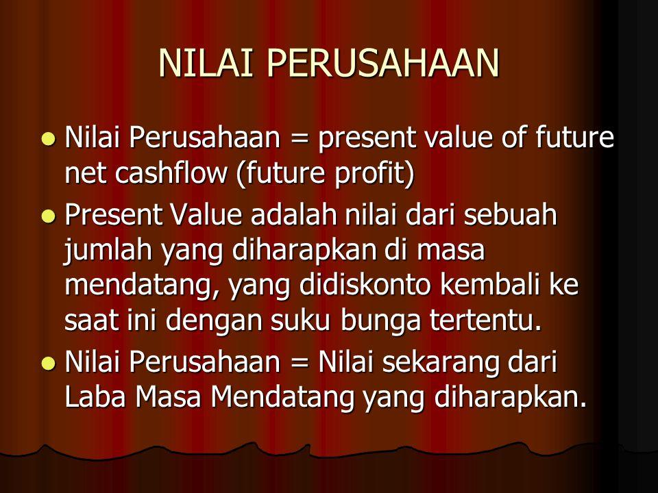 NILAI PERUSAHAAN Nilai Perusahaan = present value of future net cashflow (future profit) Nilai Perusahaan = present value of future net cashflow (futu