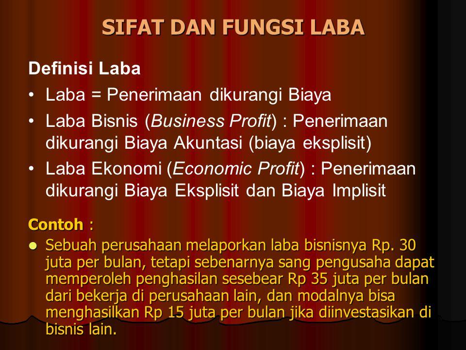 SIFAT DAN FUNGSI LABA Contoh : Sebuah perusahaan melaporkan laba bisnisnya Rp. 30 juta per bulan, tetapi sebenarnya sang pengusaha dapat memperoleh pe