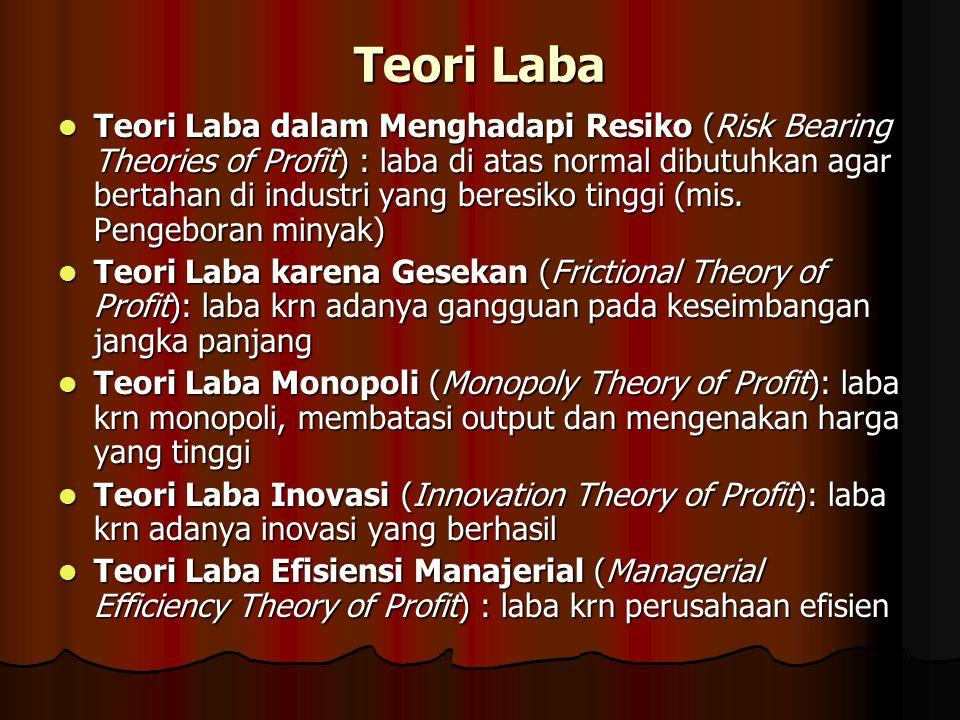 Teori Laba Teori Laba dalam Menghadapi Resiko (Risk Bearing Theories of Profit) : laba di atas normal dibutuhkan agar bertahan di industri yang beresi