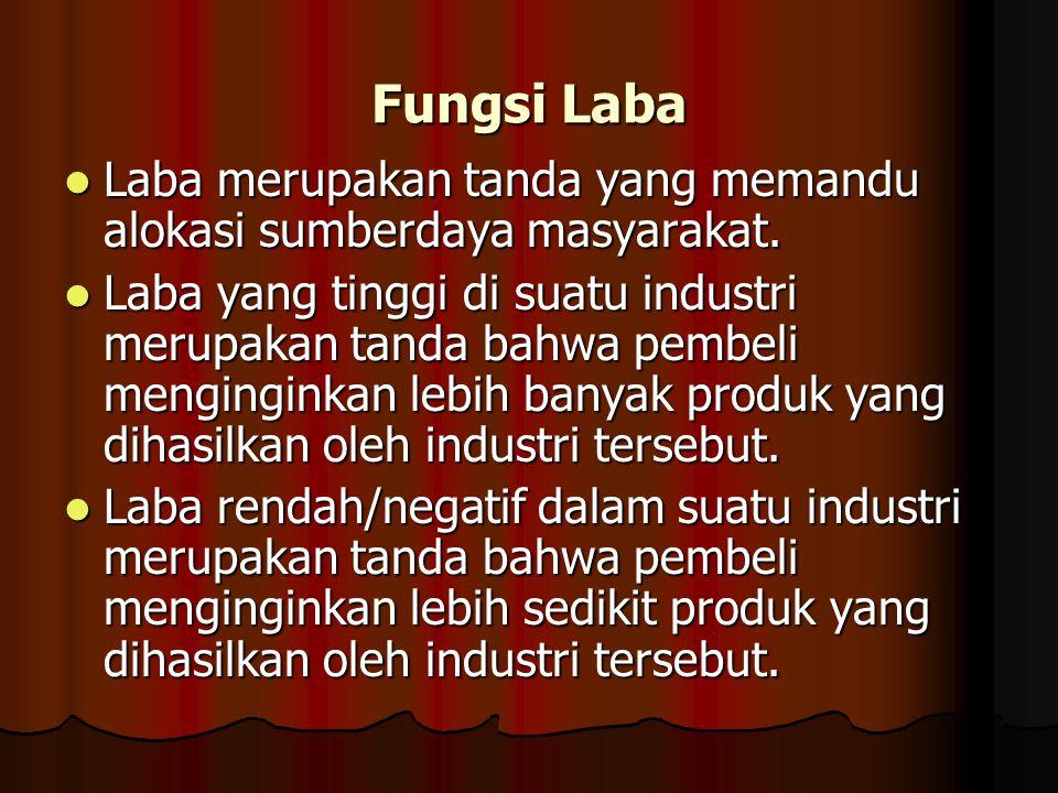 Fungsi Laba Laba merupakan tanda yang memandu alokasi sumberdaya masyarakat. Laba merupakan tanda yang memandu alokasi sumberdaya masyarakat. Laba yan