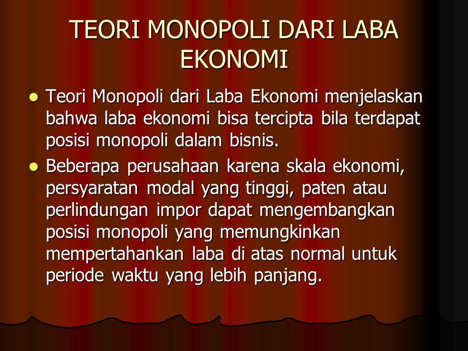 TEORI MONOPOLI DARI LABA EKONOMI Teori Monopoli dari Laba Ekonomi menjelaskan bahwa laba ekonomi bisa tercipta bila terdapat posisi monopoli dalam bis