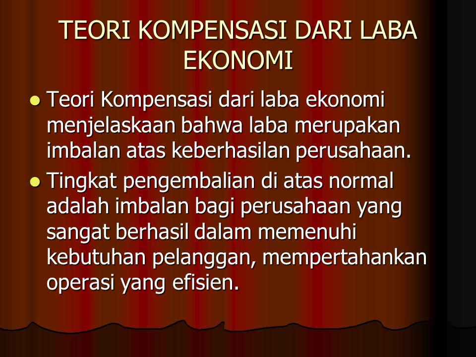 TEORI KOMPENSASI DARI LABA EKONOMI Teori Kompensasi dari laba ekonomi menjelaskaan bahwa laba merupakan imbalan atas keberhasilan perusahaan. Teori Ko