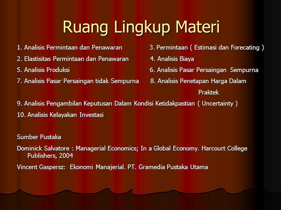Ruang Lingkup Materi 1. Analisis Permintaan dan Penawaran 3. Permintaan ( Estimasi dan Forecating ) 2. Elastisitas Permintaan dan Penawaran 4. Analisi