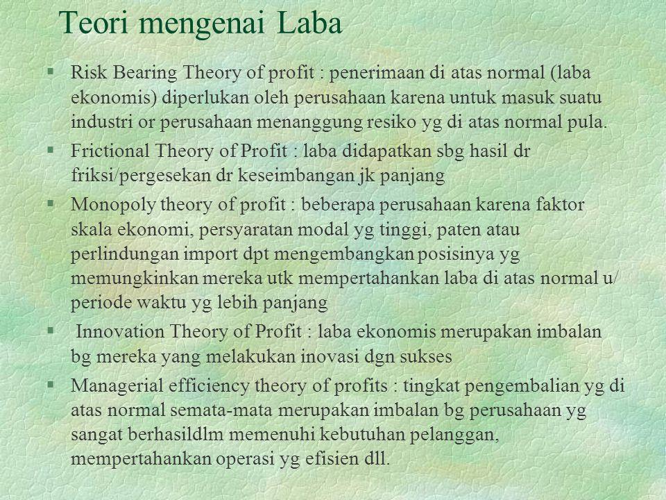 Teori mengenai Laba §Risk Bearing Theory of profit : penerimaan di atas normal (laba ekonomis) diperlukan oleh perusahaan karena untuk masuk suatu industri or perusahaan menanggung resiko yg di atas normal pula.