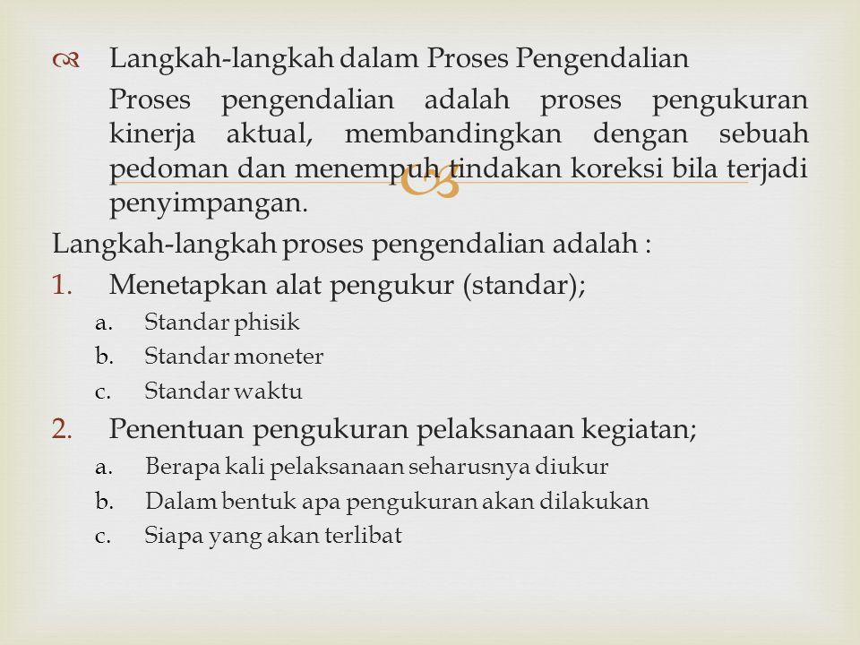   Langkah-langkah dalam Proses Pengendalian Proses pengendalian adalah proses pengukuran kinerja aktual, membandingkan dengan sebuah pedoman dan men