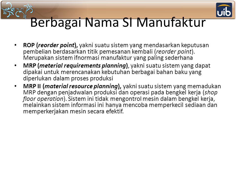 Berbagai Nama SI Manufaktur ROP (reorder point), yakni suatu sistem yang mendasarkan keputusan pembelian berdasarkan titik pemesanan kembali (reorder