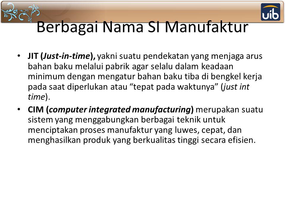 Berbagai Nama SI Manufaktur JIT (Just-in-time), yakni suatu pendekatan yang menjaga arus bahan baku melalui pabrik agar selalu dalam keadaan minimum d