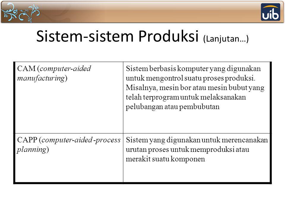 Sistem-sistem Produksi (Lanjutan…) CAM (computer-aided manufacturing) Sistem berbasis komputer yang digunakan untuk mengontrol suatu proses produksi.