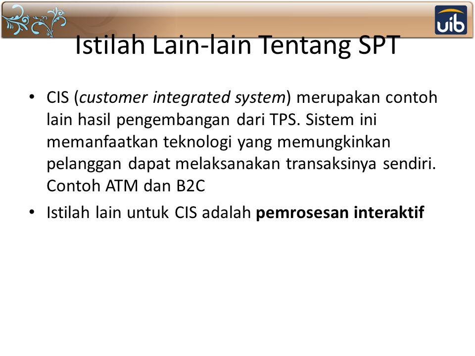 Istilah Lain-lain Tentang SPT CIS (customer integrated system) merupakan contoh lain hasil pengembangan dari TPS. Sistem ini memanfaatkan teknologi ya