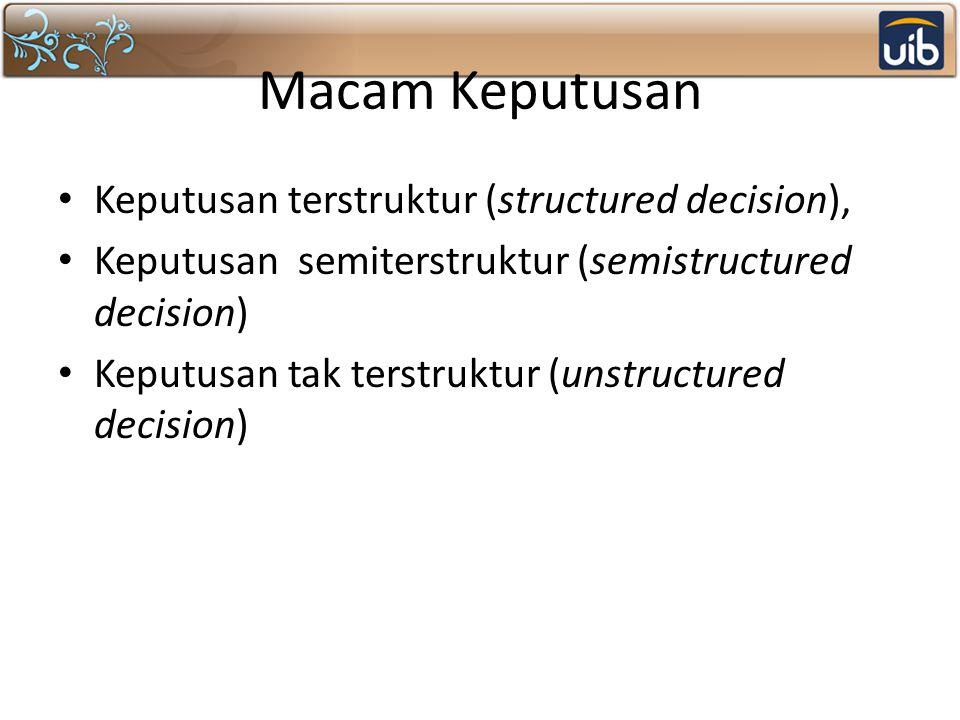 Macam Keputusan Keputusan terstruktur (structured decision), Keputusan semiterstruktur (semistructured decision) Keputusan tak terstruktur (unstructur