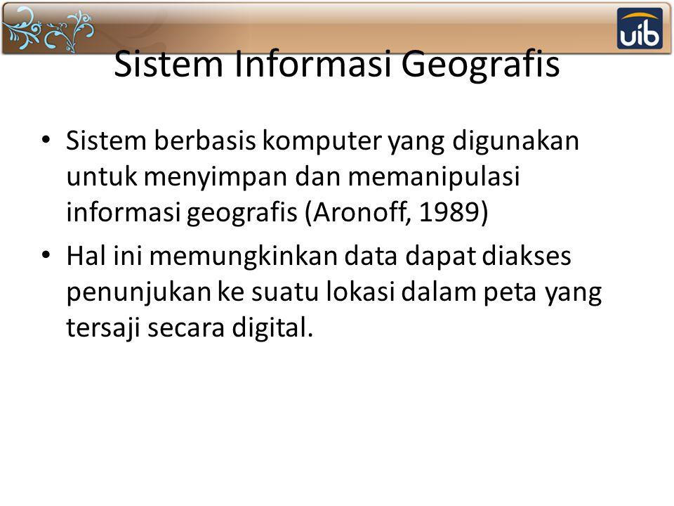 Sistem Informasi Geografis Sistem berbasis komputer yang digunakan untuk menyimpan dan memanipulasi informasi geografis (Aronoff, 1989) Hal ini memung