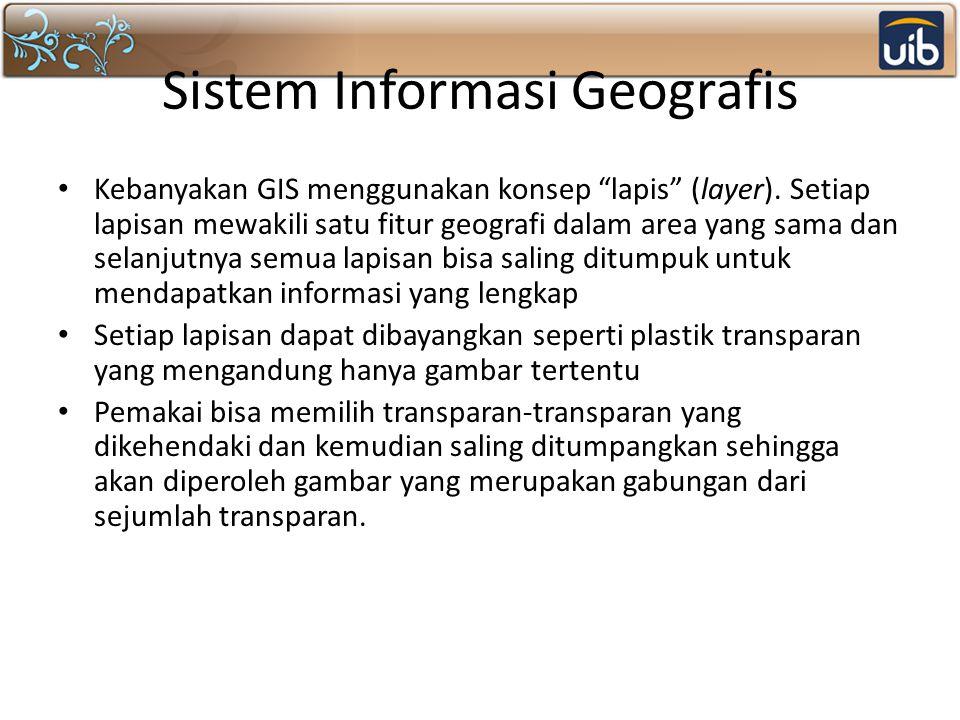 """Sistem Informasi Geografis Kebanyakan GIS menggunakan konsep """"lapis"""" (layer). Setiap lapisan mewakili satu fitur geografi dalam area yang sama dan sel"""