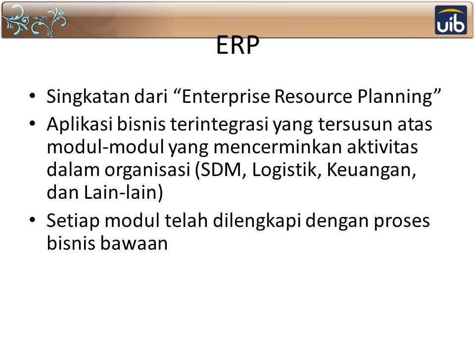 """ERP Singkatan dari """"Enterprise Resource Planning"""" Aplikasi bisnis terintegrasi yang tersusun atas modul-modul yang mencerminkan aktivitas dalam organi"""