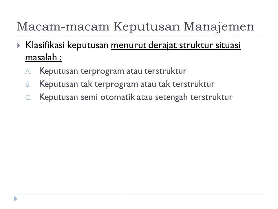 Macam-macam Keputusan Manajemen  Klasifikasi keputusan menurut derajat struktur situasi masalah : A. Keputusan terprogram atau terstruktur B. Keputus
