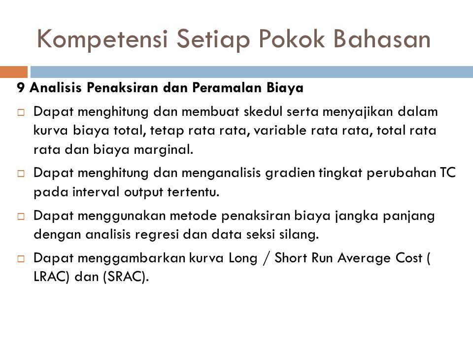 Kompetensi Setiap Pokok Bahasan 9 Analisis Penaksiran dan Peramalan Biaya  Dapat menghitung dan membuat skedul serta menyajikan dalam kurva biaya tot