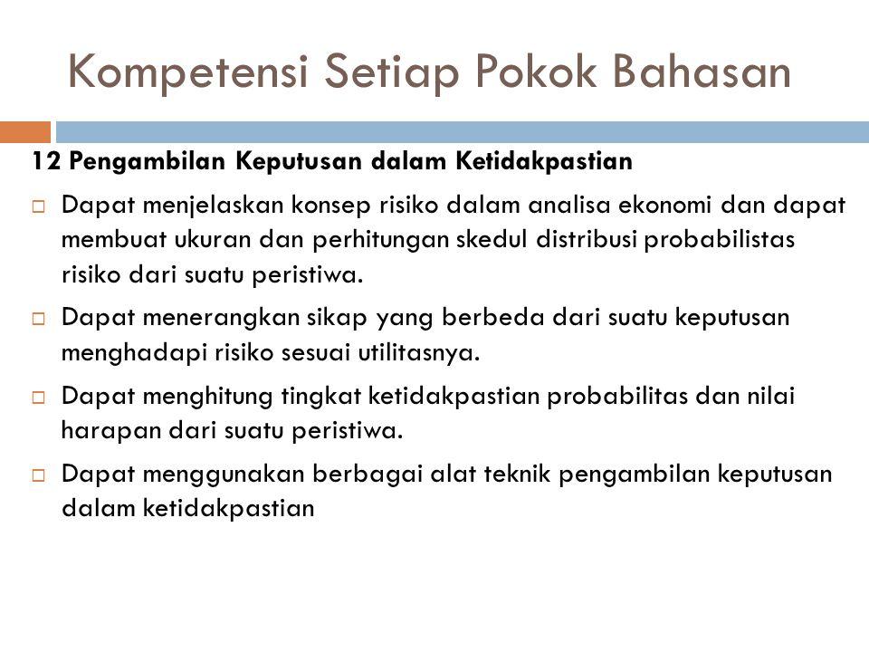 Kompetensi Setiap Pokok Bahasan 12 Pengambilan Keputusan dalam Ketidakpastian  Dapat menjelaskan konsep risiko dalam analisa ekonomi dan dapat membua