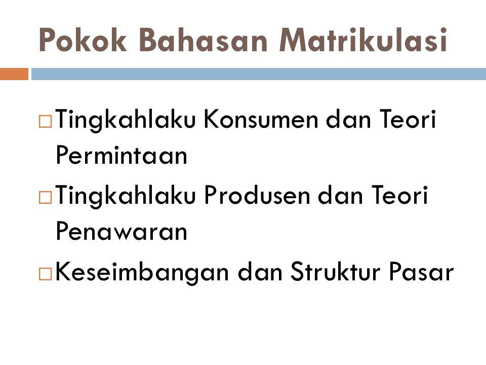 Pokok Bahasan Matrikulasi  Tingkahlaku Konsumen dan Teori Permintaan  Tingkahlaku Produsen dan Teori Penawaran  Keseimbangan dan Struktur Pasar