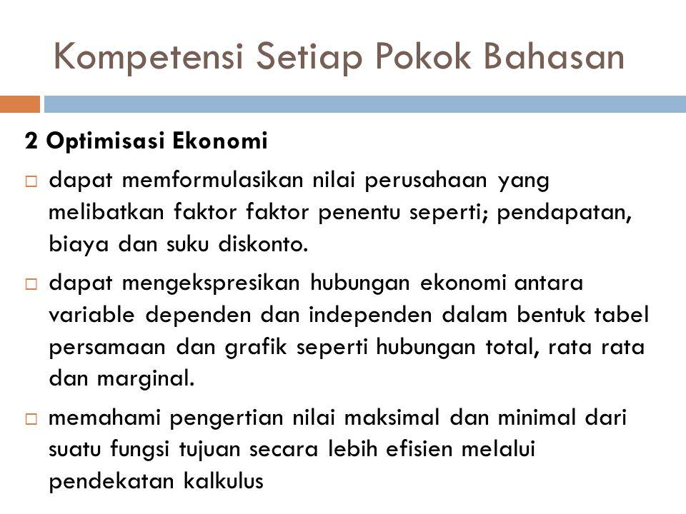 Kompetensi Setiap Pokok Bahasan 2 Optimisasi Ekonomi  dapat memformulasikan nilai perusahaan yang melibatkan faktor faktor penentu seperti; pendapata