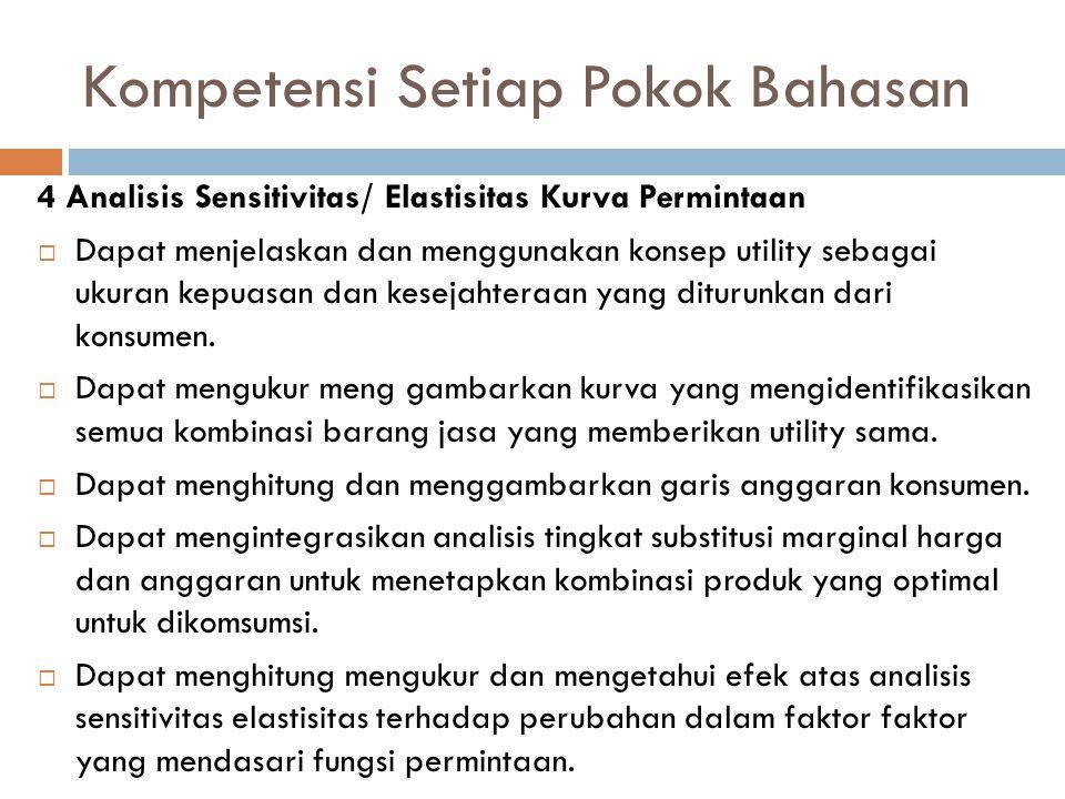 Kompetensi Setiap Pokok Bahasan 4 Analisis Sensitivitas/ Elastisitas Kurva Permintaan  Dapat menjelaskan dan menggunakan konsep utility sebagai ukura