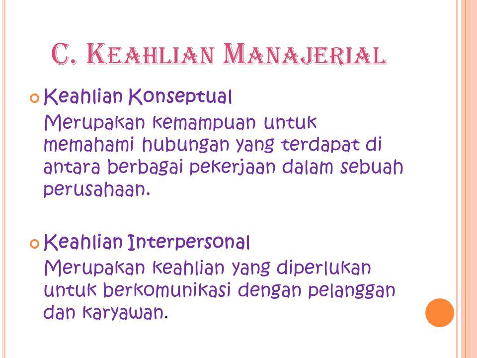 C. K EAHLIAN M ANAJERIAL Keahlian Konseptual Merupakan kemampuan untuk memahami hubungan yang terdapat di antara berbagai pekerjaan dalam sebuah perus