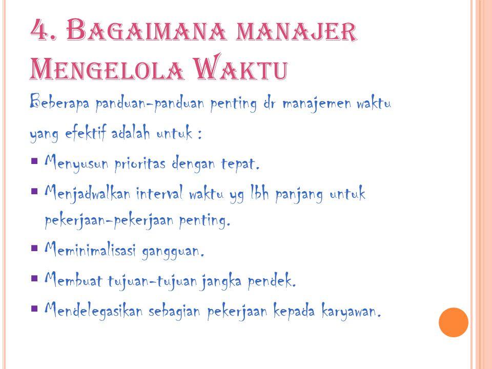4. B AGAIMANA MANAJER M ENGELOLA W AKTU Beberapa panduan-panduan penting dr manajemen waktu yang efektif adalah untuk :  Menyusun prioritas dengan te