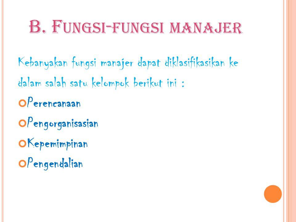 B. F UNGSI - FUNGSI MANAJER Kebanyakan fungsi manajer dapat diklasifikasikan ke dalam salah satu kelompok berikut ini : Perencanaan Pengorganisasian K