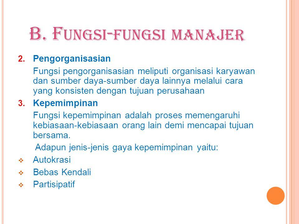 B. F UNGSI - FUNGSI MANAJER 2. Pengorganisasian Fungsi pengorganisasian meliputi organisasi karyawan dan sumber daya-sumber daya lainnya melalui cara